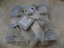 BABY BLANKET & SECURITY BEAR LOT 2 COMBO GRAY WHITE SNOWFLAKES FIRST WINTER NEW