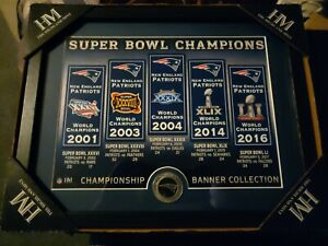 NFL New England Patriots Highland Mint Super Bowl Champions Banner Collection