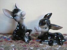Pair Vintage Small BLACK Hand Painted Ceramic DONKEYS Japan Blue Eyes