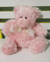 TEDDY AND FRIENDS TEDDY BEAR PINK WITH GREEN AND PINK BOW BEANS IN BUM 22CM
