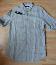DIESEL shirt size L short sleeve 100% linen grey brand new