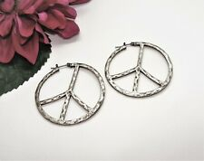Cute! Silvertone Hammered Texture Peace Sign Hoop Pierced Dangle Earrings!