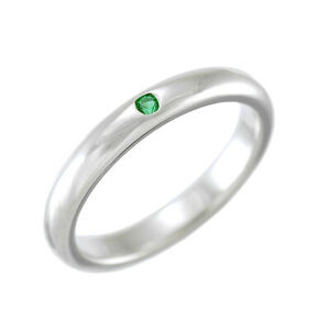 Auth TIFFANY&CO. Stacking Band Ring Sterling Silver Emerald Elsa Peretti US:5