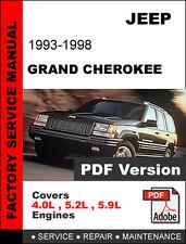 JEEP GRAND CHEROKEE 1993 1994 1995 1996 1997 1998 SERVICE REPAIR WORKSHOP MANUAL