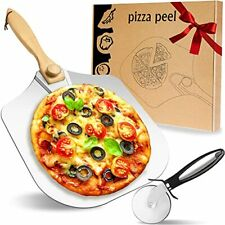 Pizza Peel Aluminum Pizza Paddle - Extra Stainless Pizza Cutter Wheel 12 Inch...