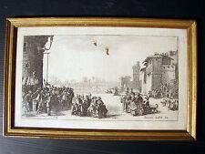 Jacques Callot 17ème gravure Le Marche d'Esclaves signée Jacomo Callot Cadre