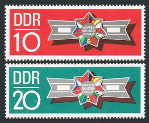 Germany DDR/GDR 1241-1242, MNH. Brothers in Arms. Emblem with flags, 1970