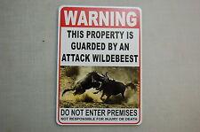 WARNING ATTACK WILDEBEEST Pet Guard on Duty  sign vinyl lettering