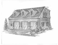42 x 30 3 Car Garage w/10 ft interior Ht.& Walk-up Dormer Loft Building Plans