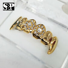 Gold Plated Hip Hop Vampire Grillz Set Gold Finish Dracula Tooth Top Fang Teeth
