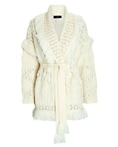 100% Authentic BNWT Alanui Desert Icon Pointelle Cardigan Ivory Size S Small