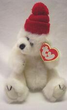 "Ty Attic Treasures Peppermint Polar Bear W/ Red Hat 9"" Plush Stuffed Animal New"