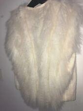 $1390 HELMUT LANG Mongolian Sheep Fur Lamb Shearling Vest S XS Cream Off White