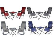 Camping-Set 2 Klappstühle+Campingtisch Tisch Liegestuhl Balkonliege Gartenstuhl