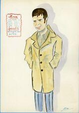 """Guy BEDOS"" Caricature originale de J. GEN (Dessin au crayon aquarellé)"