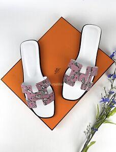 Brand New Hermes Pink Oran Bois de Rose Sandals Size 38 EUR (24 cm)