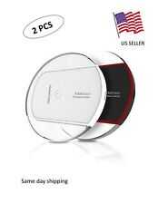 Wireless Charger Qi-Certified Universal Slim Charging Pad USB Cable 2 PCS