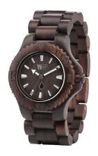 WeWOOD Date Wooden Watch Dark Brown Chocolate Wood Round Dial Analog Quartz