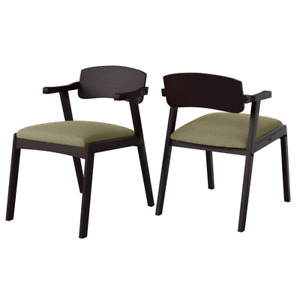 Richman Mid Century Modern Dining Arm Chairs W/Brown Finished Back & Upholstered