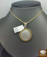 10K Yellow Gold Cuban Designed Circular Diamond Charm With 26 Inches Rope Chain