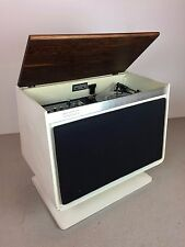 MID CENTURY MODERN VINTAGE WHITE ZENITH VINYL RECORD AND RADIO CONSOLE