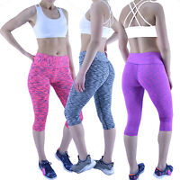 Ladies Sports Leggings Womens Fitness Running Gym Exercise Yoga Print Crop Capri