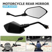 10mm Universal Motorcycle Electric motorbike Wing Side Rear view Mirror black