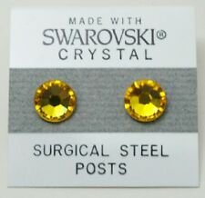 9mm Golden Yellow Crystal Circle Stud Earrings Made with SWAROVSKI ELEMENTS Gift
