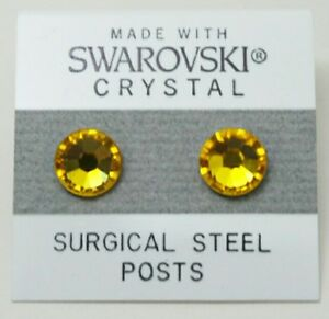 Yellow Circle Stud Earrings 9mm Golden Crystal Made with SWAROVSKI ELEMENTS