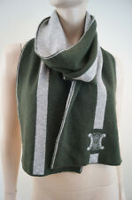 CELINE Made In Italy Khaki & Grey Striped Wool Cashmere Logo Branded Scarf