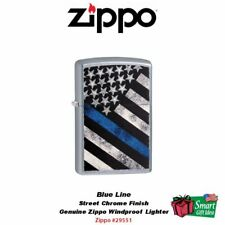 Zippo Blue Line Police Flag, Street Chrome Finish, USA Windproof Lighter #29551