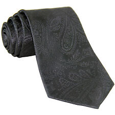 New polyester Men's Neck Tie only Paisley Charcoal Dark Gray Wedding Prom formal