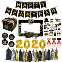 2020 Happy New Year Set Home Party Decor Banner Balloons Photo Frame Supplies