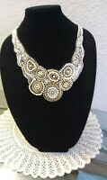 VINTAGE WOMAN'S HAND BEADED, HAND SEWN,  ORNATE HAND TIE NECKLACE, ONE OF A KIND