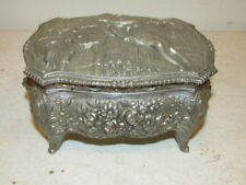 Vintage Silverplated Historic & Floral Footed Jewelry Box VFC