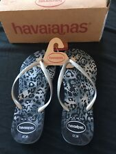 Havaianas Grey Leopard Print Slim Fit , Flip Flops Size 5 (37/38) Brand New