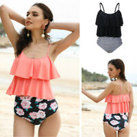 Flouncing Women Two Pieces Padded Tankini High Waisted Bottoms Swimwear Swimsuit