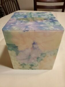 White Chiffon Pastel Floral Kleenex Tissue Holder Cover Ambrosia Spring Plastic