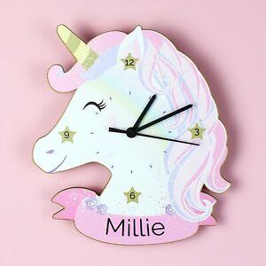 Personalised Unicorn Clock Cute Fairy Tale Wall Clock Girls Bedroom Gift