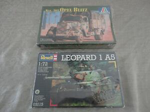 ITALERI REVELL 1:72  TANK Lot x2 CHAR & CAMION Kfz 305 OPEL BLITZ LEOPARD 1A5