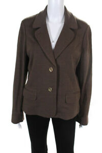 Tory Burch Womens Button Up Collared Blazer Brown Gold Tone Size XL