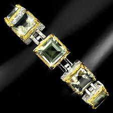925 Silber Armband, 5 St. Amethyst 9 x 9mm, 2-tone Gelbgold & Weißgold vergoldet