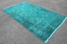 "9x5 Turkish Vintage Handwoven Turquoise Overdyed Area Rug Carpet 106""x61"""