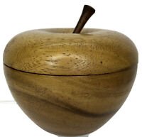 """Vintage Wooden Apple Bowl Dish w Lid Monkey Pod Wood Fruit Container 5"""""""
