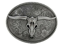 Men Women Fashion Buckle Western Metal Bull Skull Texas Long Horn Cow Silver TX