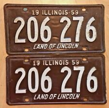 """1959 ILLINOIS LICENSE PLATE 2 PLATES MATCHING PAIR """" 206 276 """" IL LAND LINCOLN"""
