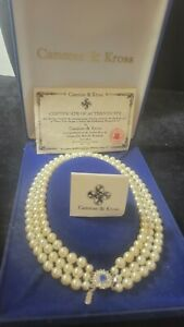 Camrose & Kross Jacqueline Kennedy Triple Strand Pearl Necklace Sapphire Clasp