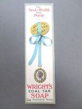Antique BOOKMARK Wright's Coal Tar Soap Cameo Child Vintage Advertising