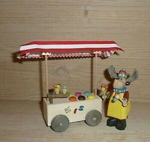 Reindeer Ice Cream Vendor With Height Approx 13cm New Wood Figure Holzminiatur