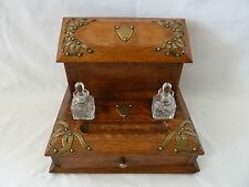 Antique Oak and Brass Desktop Stationary Box Cabinet with Ink Bottles